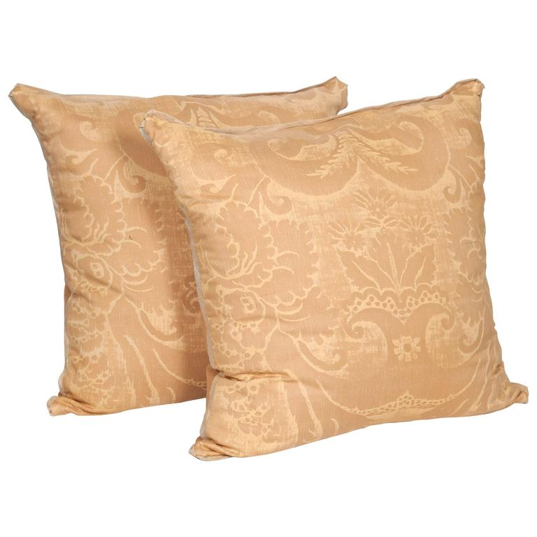A Pair of Fortuny Fabric Cushions in the Glicine Pattern