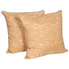 Pair of Vintage Fortuny Fabric Cushions in the Glicine Pattern