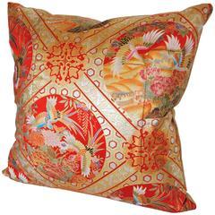 Custom Pillow Cut from a Japanese Silk Hand-Painted Uchikake Wedding Kimono
