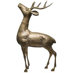 Large Mid-Century Brass Deer with Antlers