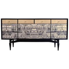Spectacular Revamped 1950s Sideboard, Bar in the Style of Fornasetti