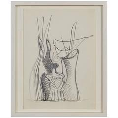 "Gio Ponti Drawing ""Disegno Di Tre Vasi in Ceramica"" Italy, 1946"