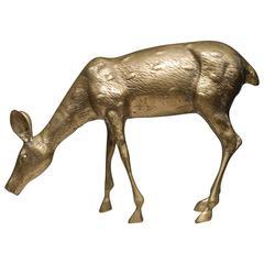Large Mid-Century Brass Deer, circa 1970s