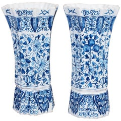 Pair of 19th Century Delft Ribbed Trumpet Vases