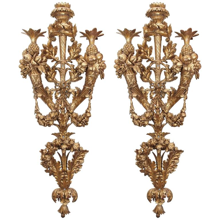 Carved Wood Wall Sconces For Sale