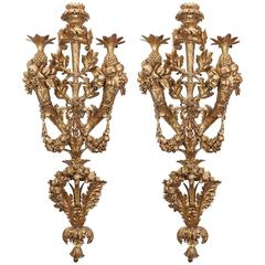 Carved Wood Wall Sconces