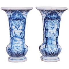Pair of 19th Century Delft Trumpet Form Vases