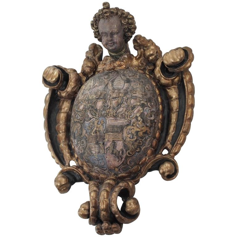 Spanish Putto Mounted Carved Wood Amorial Crest 1
