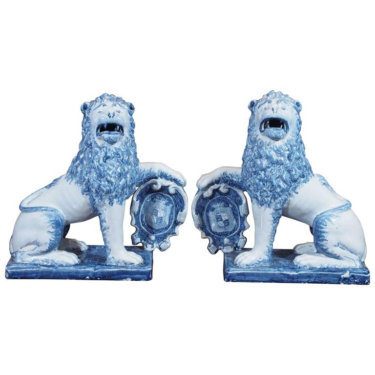 Pair of Blue and White Delft Lions with Shields 1