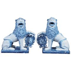 Pair of Blue and White Delft Lions with Shields