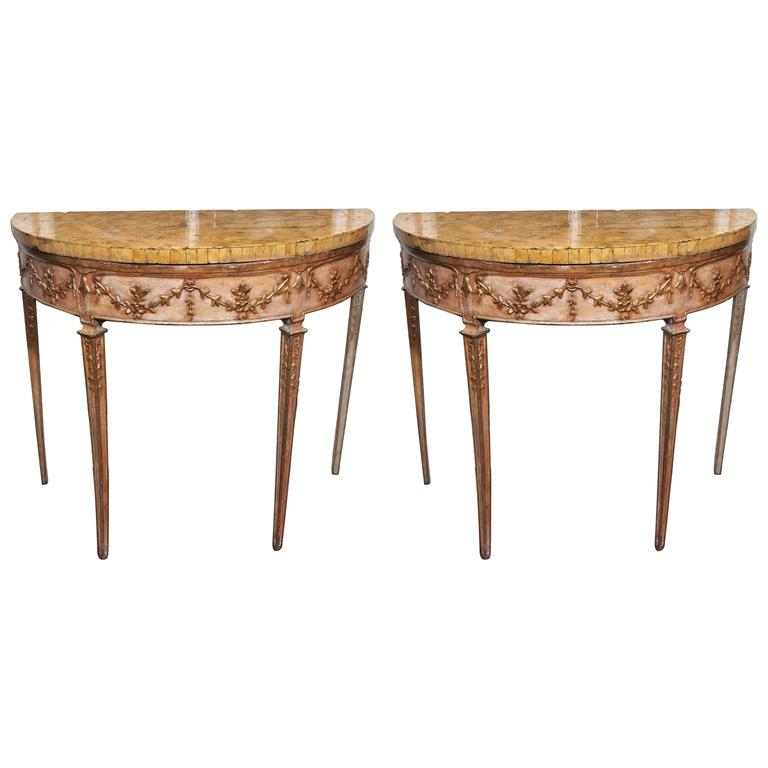 Pair of Italian Louis XVI Parcel Gilt and Painted Demilune Console Tables 1