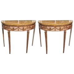 Pair of Italian Louis XVI Parcel Gilt and Painted Demilune Console Tables