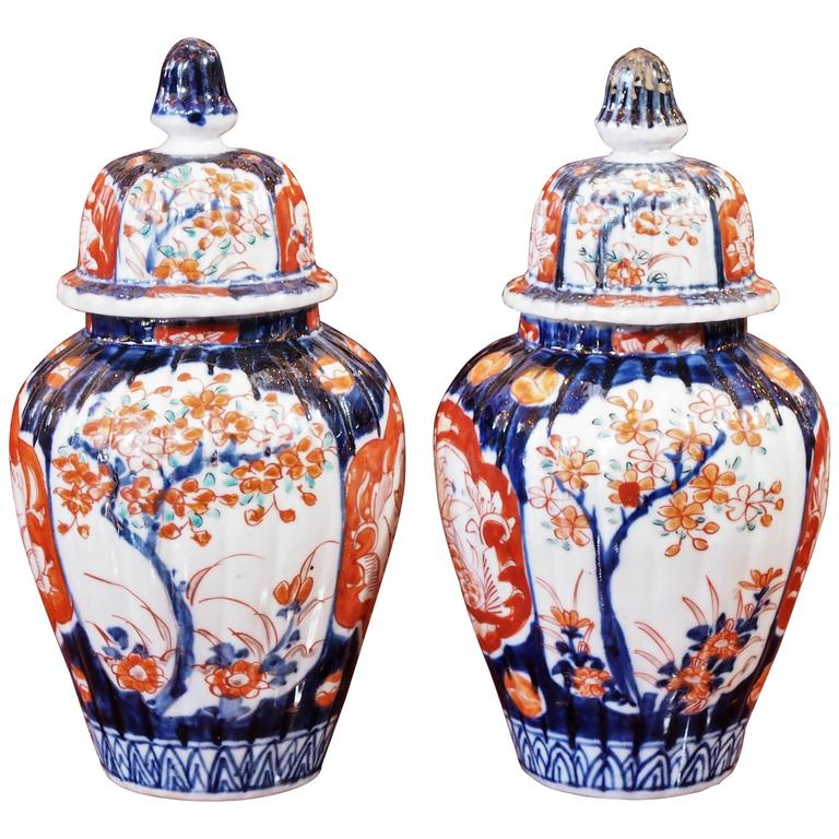Pair Of Small Imari Lidded Ginger Jars For