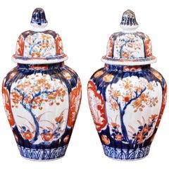 Pair of Small Imari Lidded Ginger Jars