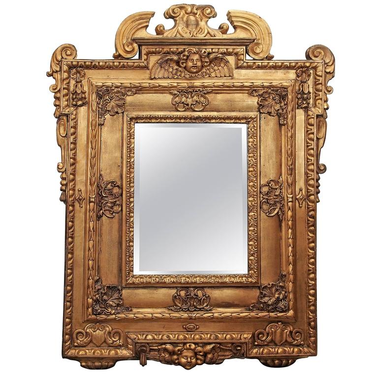 Italian Giltwood Mirror with Cherub 1