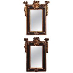 Pair of Italian Louis XVI Painted and Parcel-Gilt Mirrors