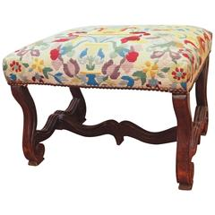 French Walnut Stool with Needlepoint Cover