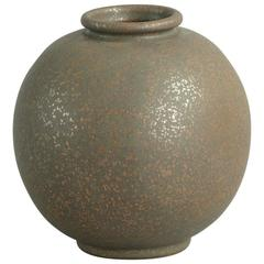 Spherical Vase with Unusual Two-Tone Glaze by Arne Bang, 1930s