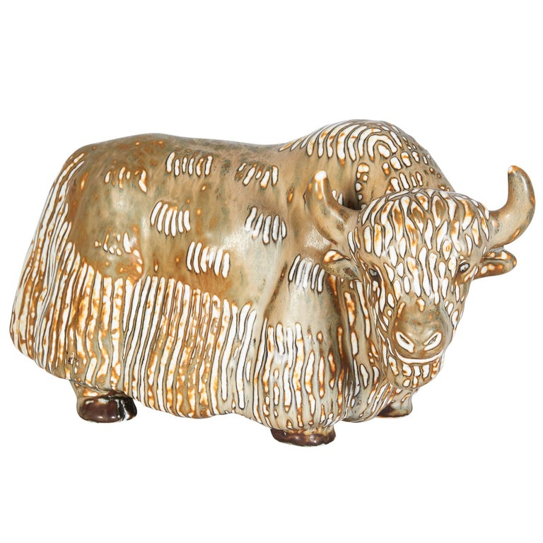 Stoneware Figure of a Water Buffalo, Gunnar Nyland for Rorstrand For Sale