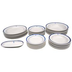 Vintage 31 Piece Set of Nautical Blue and White American Navy Dinnerware