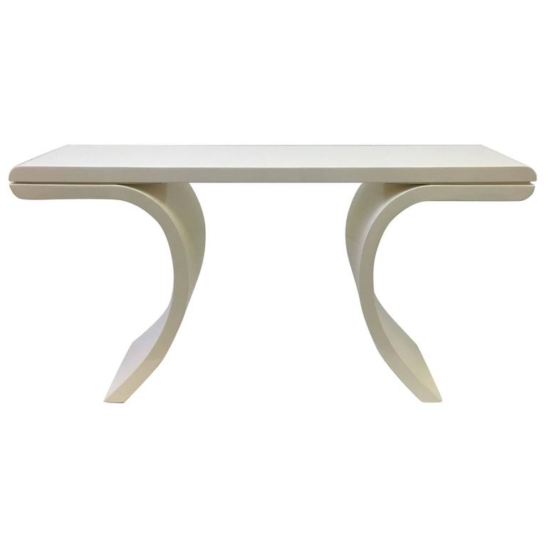 High Gloss Lacquered Console Table in the Manner of Karl Springer
