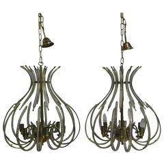 Pair of Brass and Crystal Chandeliers from the Ceiling, 20th Century