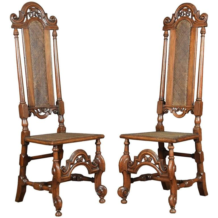 Antique Carved Walnut High Back Chairs Antiques Chairs