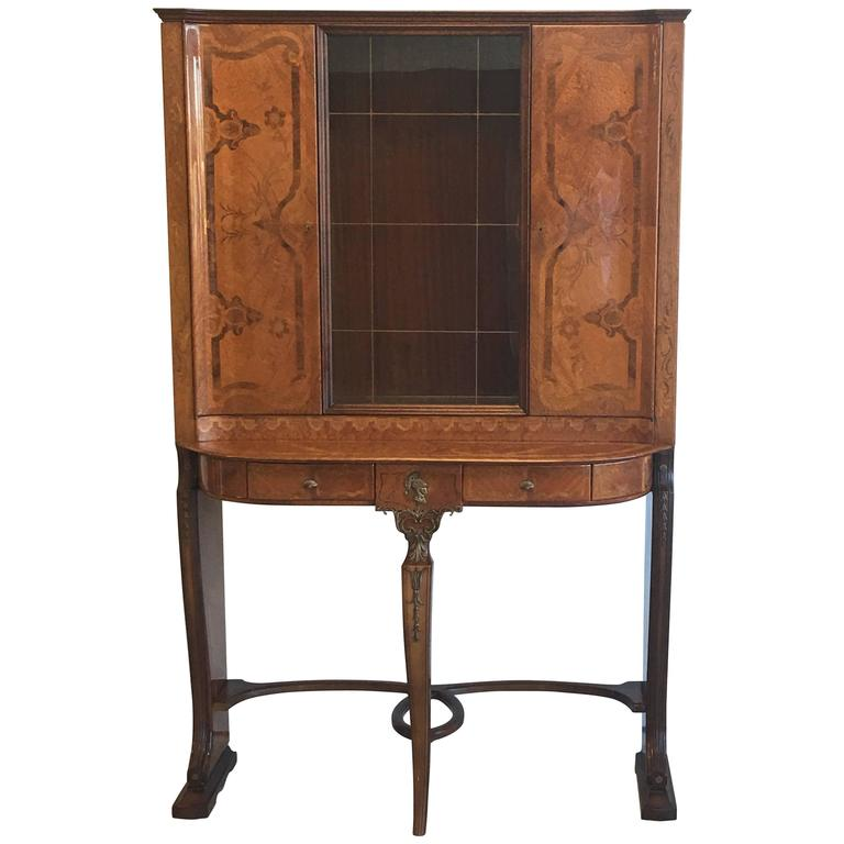 1930s Louis XV Style Inlaid and Lacquered China Cabinet