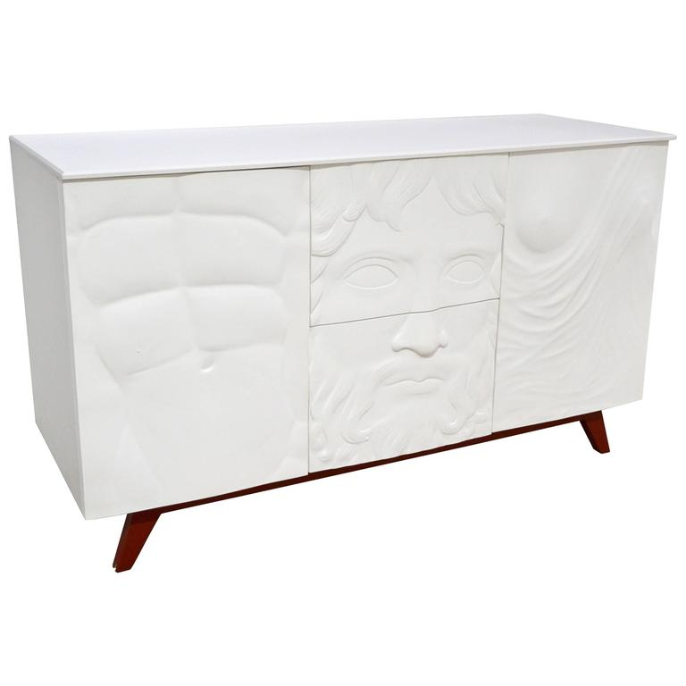 Contemporary Fine Design Italian White Sideboard/Cabinet with Burgundy Wood Legs