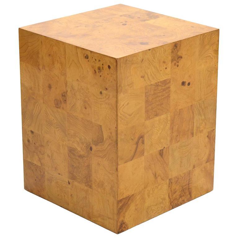 Milo Baughman Burl Patchwork Pedestal/ End Table by Thayer Coggin
