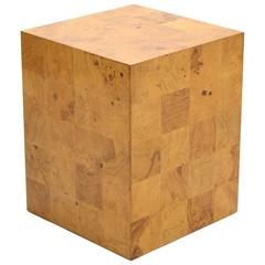 Milo Baughman Burl Patchwork Pedestal/ End Table by Thayer Coggin