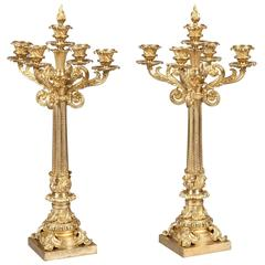 Pair of English 19th Century Gilt Bronze Candelabra
