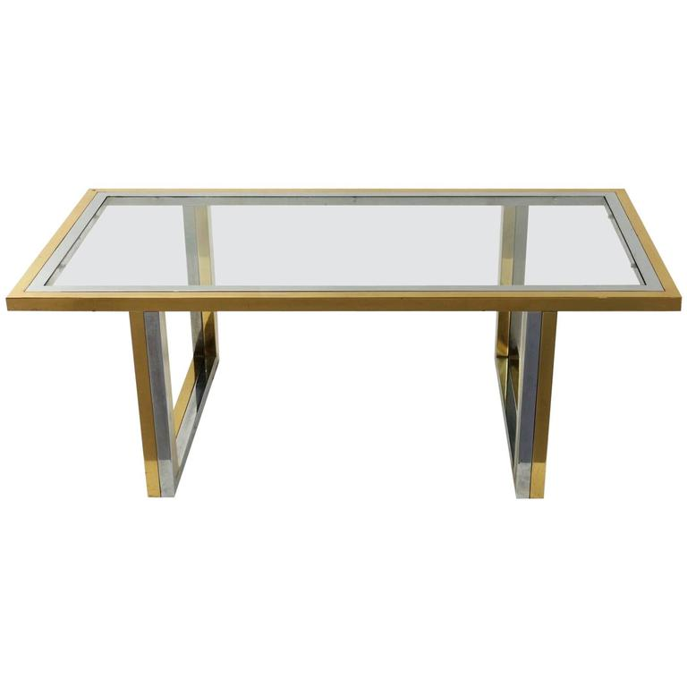 Chrome and Gilded Brass Coffee Table with Glass Top Attributed to Romeo Rega