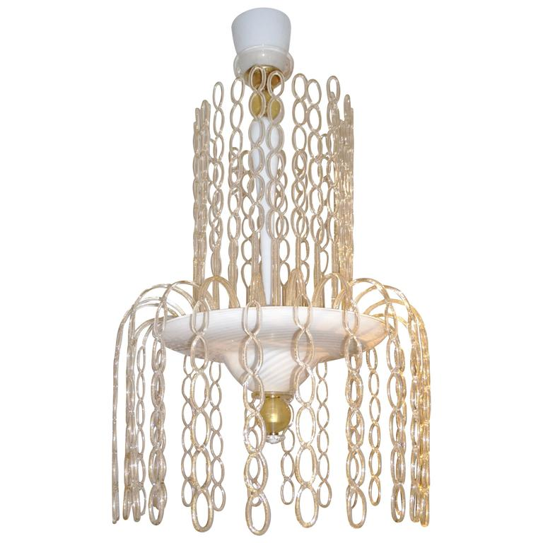 Seguso Vetri d'Arte 1970s Italian Gold and White Murano Glass Cascade Chandelier