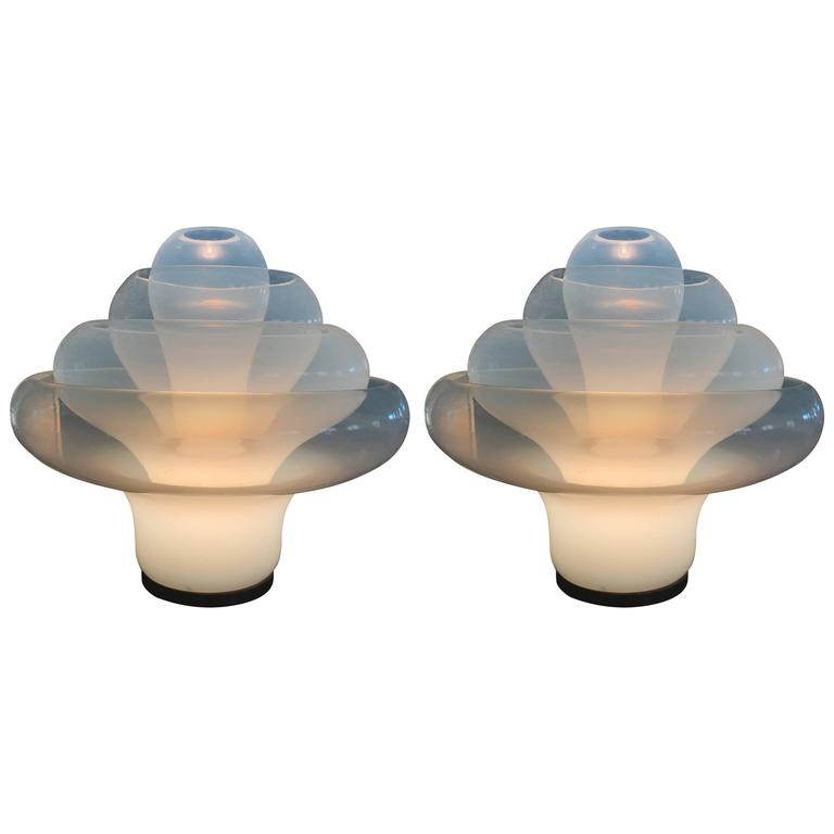 Mid-Century Modern Pair of Table Lamps by Carlo Nason for Mazzega, 'LT305'
