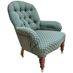 Victorian Antique Walnut Lounge Armchair Newly Upholstered