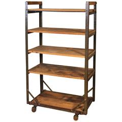 Rolling Shoe Cart, Rustic Wood and Steel Storage Rack