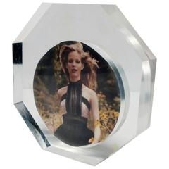 Italian Modern Lucite Octagonal Picture Frame