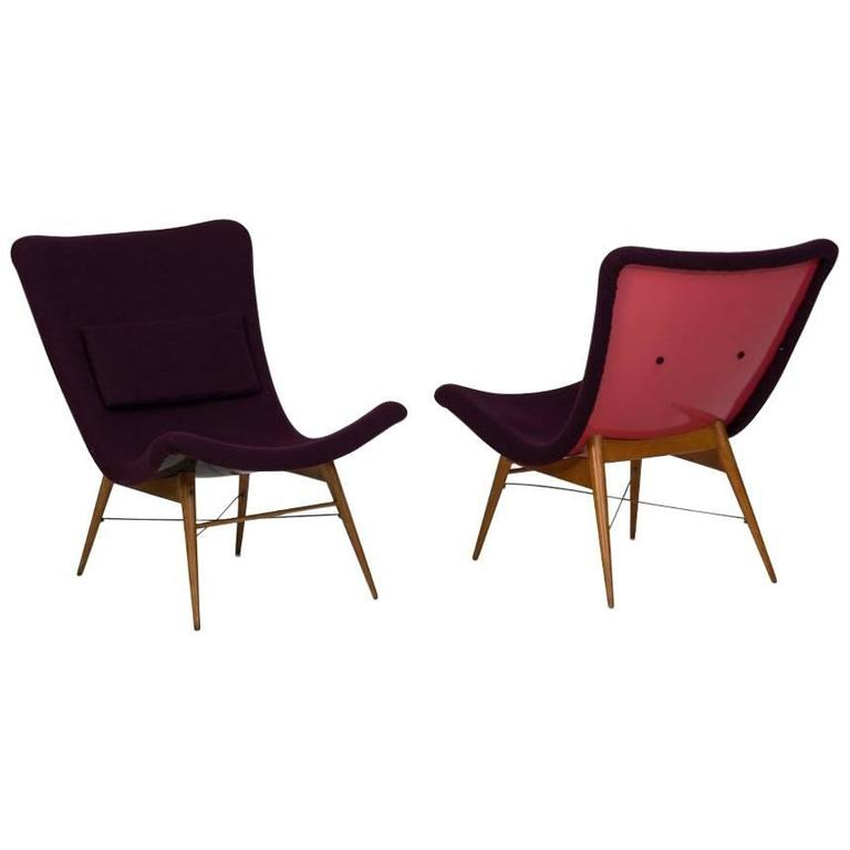 Miroslav Navratil 1950s Chechoslovakian Pair of Lounge Chairs produced by Tatra