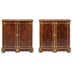 Pair of French Mid-19th Century Transitional St. Mahogany and Ormolu Cabinets