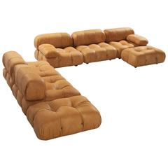 Mario Bellini Reupholstered 'Camaleonda' Modular Sofa in Cognac Leather
