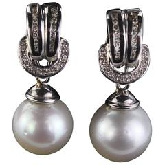 Pair of Ear Hangers with South Pacific Pearls, 18-Karat White Gold and Diamonds