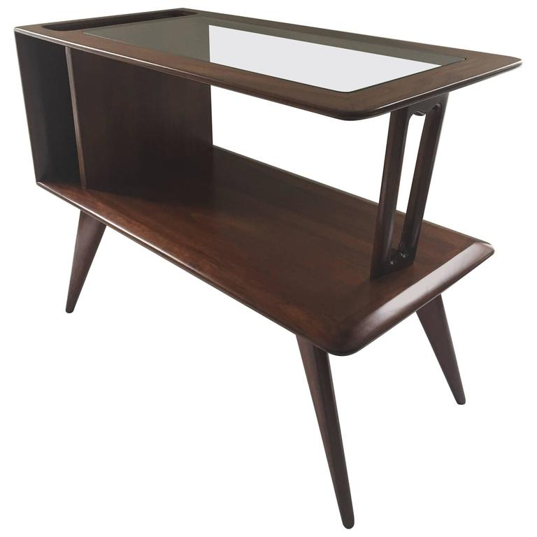 Signed Fabri-Ass, End Table or Magazine Holder Two-Tier Glass Walnut Side Table