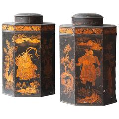 Pair of Octagonal Regency Tole Tea Canisters and Covers in the Chinoiserie Style