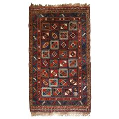 Antique Persian Qashqai Long Rug with Very Unusual Box Design