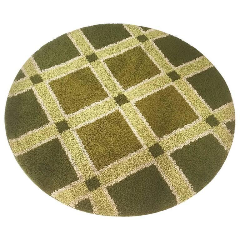 Original 1970s Green Pattern Pop Art Rug Made by Desso, Germany