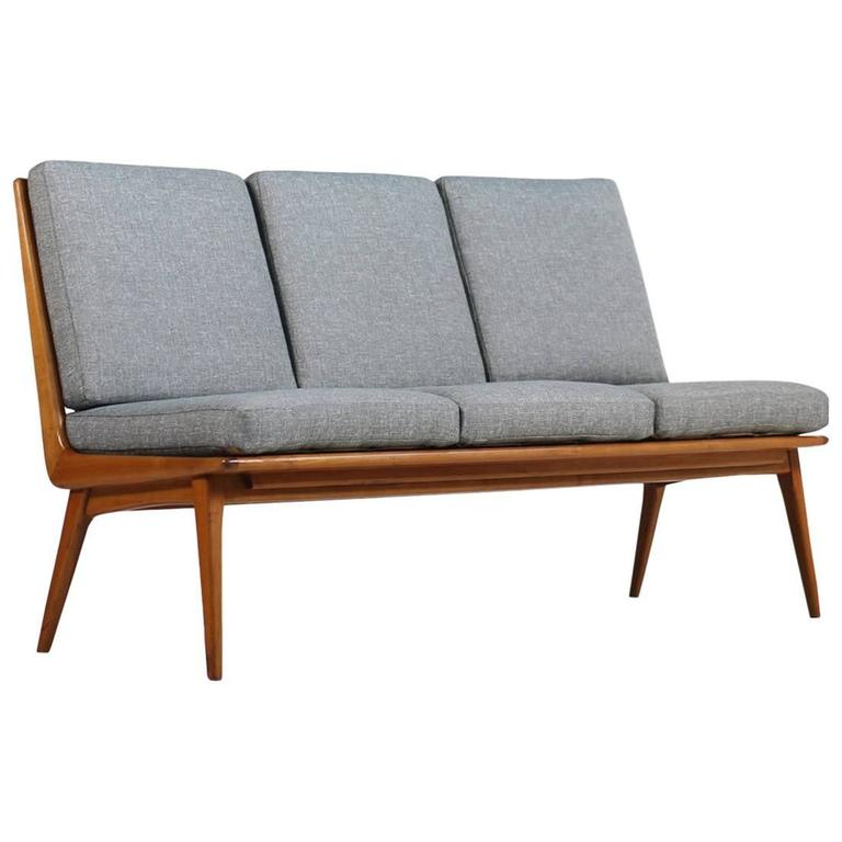 hans mitzlaff 1950s boomerang sofa for eugen schmidt germany 1953 cherrywood for sale at 1stdibs. Black Bedroom Furniture Sets. Home Design Ideas
