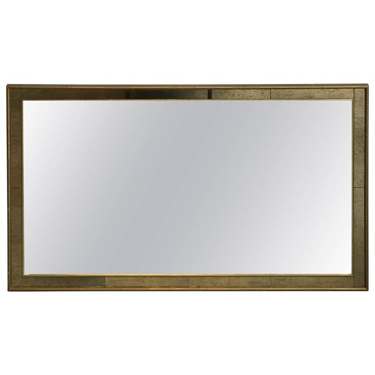1960s Labarge Faux Bamboo Gilt Mirror with Mercury Glass Border