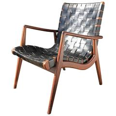 Walnut and Leather Strap Lounge Chair by Mel Smilow