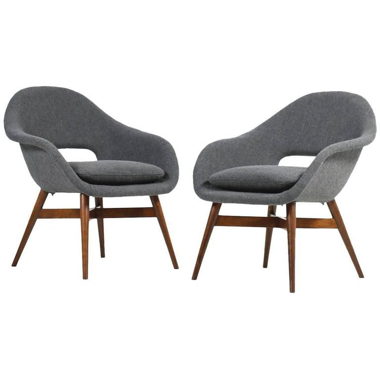 Beautiful Pair of 1960s Miroslav Navratil Lounge Chairs, New Upholstery